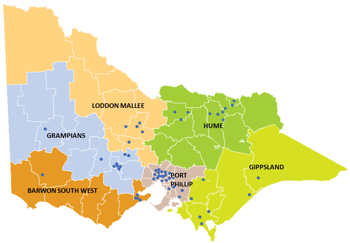 A map of Victoria, divided into six regions: Barwon South West, Gippsland, Grampians, Hume, Loddon Mallee and Port Phillip. The locations of all New Energy Jobs Fund projects are marked on the map.