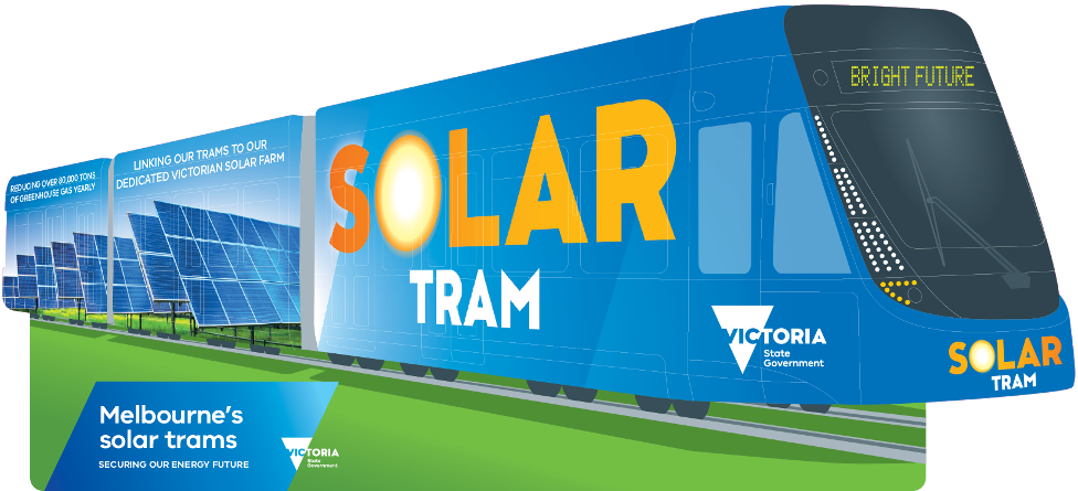 Image of a tram highlighting that it is power by solar energy