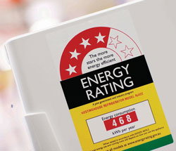 Energy saving refrigerator with a label indicating 4 stars. Energy consumption of 468 kWH per year